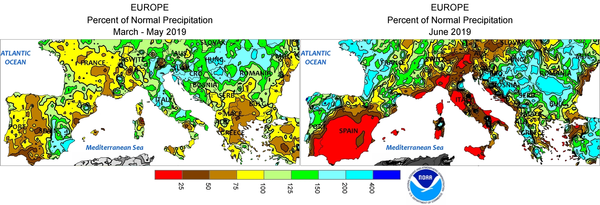 EU, Africa, China, California: Weather situation since March 2019